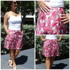 A-line skirt pattern.  Great pockets and very clear step by step video with lots of tips to get a great fit on this skirt.