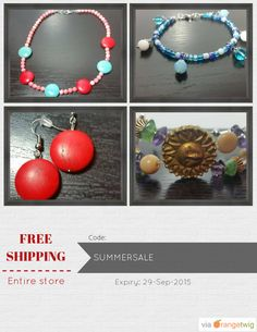 Get Free Shipping our Entire Store now! Enter Coupon Code: SUMMERSALE Restrictions: Expiry: 29-Sep-2015. Click here to avail coupon: https://orangetwig.com/shops/AABD9me/campaigns/AABMWNj?cb=2015009&sn=Anything4UCreations&ch=pin&crid=AABMWO8