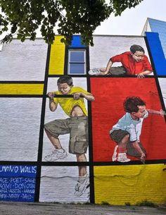 Street-Art-Day: Ernest Zacharevics Hommage an Piet Mondrian Frage zum Street-Ar… – streetart 3d Street Art, Murals Street Art, Urban Street Art, Amazing Street Art, Best Street Art, Street Art Graffiti, Mural Art, Street Artists, Amazing Art