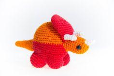 Red and Orange Dinosaur - Crochet Dinosaur  - Amigurumi - Soft toys - Bright Colors - Birthday Gift - Animals - Kids gifts Crochet Penguin, Crochet Dinosaur, Christmas Bunting, Bunting Garland, Paper Beads, Amigurumi Toys, Kids Gifts, Bright Colors, Birthday Gifts