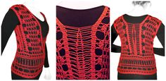 Seamless crocheted Bruge lace top. Handmade. Material: 100 % cotton yarn.