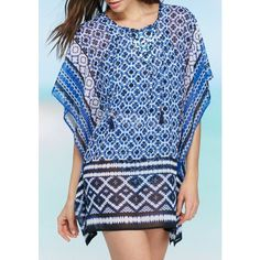 Tommy Bahama Plunge Blue Shibori Lace Up Tunic Swim Cover Up - Women's ($98) ❤ liked on Polyvore featuring swimwear, cover-ups, plunge blue, lace swim cover up, swim suits, tommy bahama bathing suits, beach cover up and swimsuit cover up