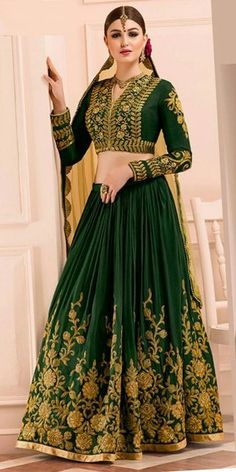 Frightening Green Mudal Silk Lehenga Choli With Dupatta.