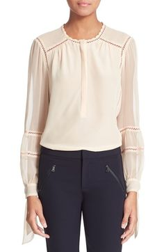 Rebecca Taylor Long Sleeve Silk Blouse available at #Nordstrom