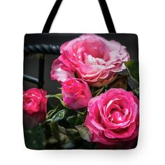 Tote Bag featuring the photograph Pink Roses by Michael Johnk