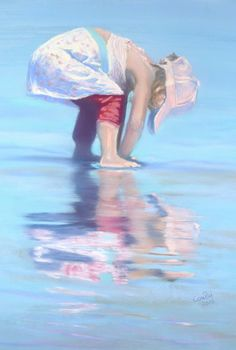 Playing with her mirror image, Brigette Courte Winner of the Pastel Guild of Europe's February Competition 2016 Unison Colour