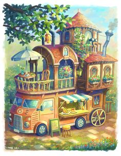 Art And Illustration, Magazine Illustration, Kawaii Drawings, Cute Drawings, Isometric Art, Fantasy Kunst, Kawaii Art, Fantasy Landscape, Anime Scenery