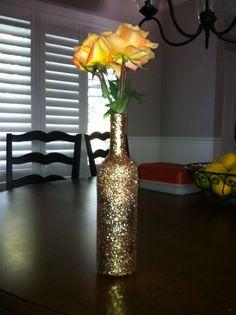 Ombre Glitter Wine Bottle Vase via Etsy