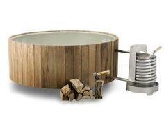 Badetonne originell praktisch Holzofen kostengünstige Alternative Whirlpool