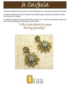 Swarovski Earring Pattern. Beadwork Pattern for Tiny Dangle