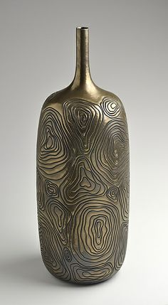 Tall Golden Carved Bottle: Boyan Moskov: Ceramic Vessel | Artful Home