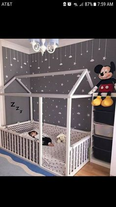 Toddler Floor Bed - perfect for wriggly little ones, so they can't fall out! We love the grey and white colour scheme and constellation of friendly little stars in this room too. Baby Bedroom, Baby Room Decor, Nursery Room, Kids Bedroom, Bedroom Decor, Toddler Bedroom Ideas, Nursery Ideas, Bedroom Modern, Bedroom Lighting