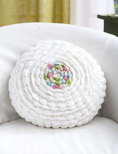 Yarnspirations.com - Lily Ruffles Pillow - Patterns | Yarnspirations