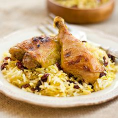 Persian roasted chicken with dried cherry and saffron rice