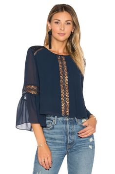 Tularosa Jaylen Blouse in Deep Indigo Beautiful Blouses, School Fashion, Revolve Clothing, Corsage, Girly Girl, Blouse Designs, Blouses For Women, Fashion Outfits, Couture