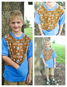 Quadrilateral Tee Sewing Pattern sewn with Lillestoff  Piranah Fabric.