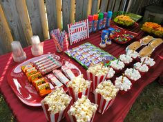 """Concession Stand"" Backyard Drive-in Birthday Party www.TheWeddingPla… ""Concession Stand"" Backyard Drive-in Birthday Party www. Backyard Movie Party, Backyard Movie Nights, Drive In, Sports Food, Sports Party, 13th Birthday, Birthday Parties, Birthday Ideas, Movie Theater Party"