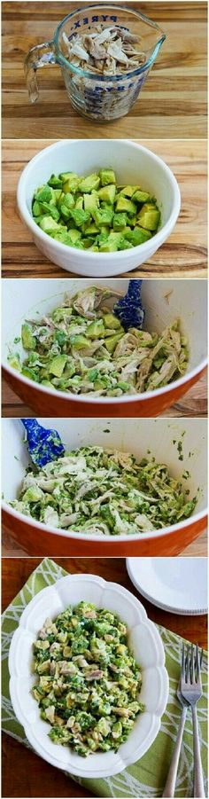 Chicken and Avocado Salad with Lime and Cilantro Recipe. Sub Greek yogurt instead of mayo and this works for the 21 Day Fix! Chicken and Avocado Salad with Lime and Cilantro Recipe. Sub Greek yogurt instead of mayo and this works for the 21 Day Fix! Think Food, I Love Food, Food For Thought, Healthy Snacks, Healthy Eating, Healthy Recipes, Simple Avocado Recipes, Healthy Food Prep, Easy Whole 30 Recipes