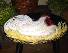 childs red rooster chair farmhouse decor by CottageDesignStudio
