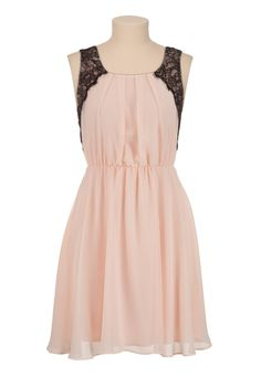 Contrast Lace Chiffon Dress - maurices.com 39.00