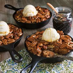 From buttery bars to single-serving pies, you'll want to add these sweet treats to your to-do list immediately. Gooey Layer Bars Salted Caramel Swirl Brownies Blackberry Jam Bars Oatmeal Toffee Skillet Cookie Brown Butter and Pecan Blondies Cast Iron Skillet Cooking, Iron Skillet Recipes, Cast Iron Recipes, Skillet Meals, Skillet Food, Skillet Steak, Butter Pecan, Brown Butter, Peanut Butter