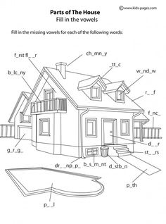 House Parts B & W worksheet