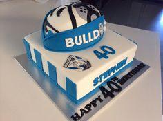 Vanilla birthday cake for a bulldogs fan!