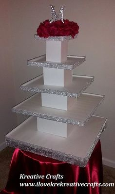 Discover thousands of images about Wedding cupcake Tower. Cupcake and Cup cakes stand. This 5 tier cupcake stand can hold cupcakes. Diy Wedding Cupcakes, Cupcake Tower Wedding, Cake And Cupcake Stand, Cupcake Display, Cupcake Cakes, Wedding Cakes, Cup Cakes, Cake Stands, Diy Cake Stand Wedding