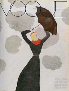 """February, 1933 I love looking at the 1930's covers with the Depression and WWII as a """"background"""". And look, it's raining! But fashion prevails even in rain!"""