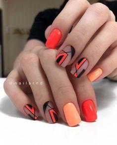 Orange Nail Art, Orange Nail Designs, Orange Nails, Chic Nails, Classy Nails, Stylish Nails, Summer Acrylic Nails, Cute Acrylic Nails, Acrylic Nail Designs