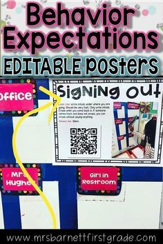 Teaching appropriate classroom behaviors and routines is difficult. Repeating yourself over and over re-teaching behaviors and routines is even more difficult! Creating these EDITABLE posters with your class will help. They are perfect for back to school, Classroom Expectations, Classroom Behavior Management, Classroom Procedures, Classroom Organization, Classroom Ideas, Teaching First Grade, First Grade Teachers, Teaching Schools, Teaching Activities