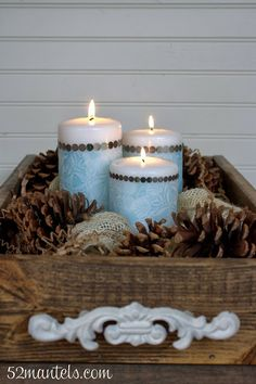 52 Mantels: Decoupaged Holiday Candles