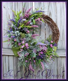 Scottish Heather Coast Wreath, Scotland Coastal, Highland, Large Purple lavender