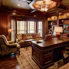 Home Office cherry paneled Design Ideas, Pictures, Remodel and Decor