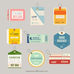 Variety of flat luggage tags in flat design free vector Design Plat, Flat Design, Design Design, Chair Design, Design Trends, Interior Design, Luggage Stickers, Luggage Labels, Design Thinking