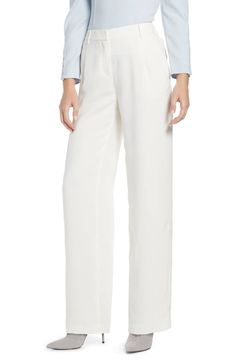 Women's Something Navy Pleated Wide Leg Trousers, Size 18 - Ivory (Nordstrom Exclusive) Chic Outfits, Fashion Outfits, Fashion Top, Fashion Clothes, Style Fashion, Arielle Charnas, Something Navy, Fashion For Women Over 40, Fashion Women