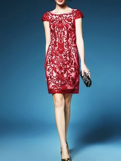 QILI Embroidery Round-neck Mini Dress