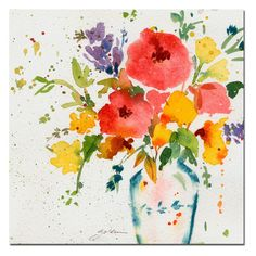 White Vase with Bright Flowers Canvas Art by Sheila Golden - SG091-C2424GG