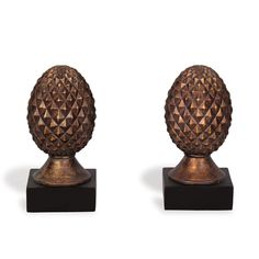 Port 68 Pineapple Bookends, Antiqued Gold, These bookends are each supported by a matte black pedestal base and cast to resemble a spiky pineapple. We also love them as sculptural accent pieces when not keeping books in line. Gold Home Accessories, Tuscan Decorating, Decorating Tips, Tudor Style, Luxury Home Decor, Bohemian Decor, Accent Pieces, Bohemian Decorating