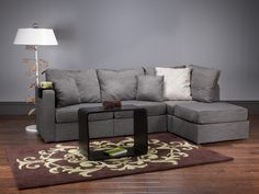 5 Series Four Cushion Chaise Sectional with Bidness Grey Tweed Covers + FREE Accessories!