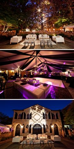 This wedding made me fall in love with WAH and what can be done to the backyard.  The purple lighting isn't necessary but I love all of the candles!  Also, nice lounge setup.