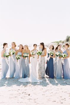 mismatching maxi bridesmaid dresses in blue shades for a coastal wedding dresses beach bridesmaid 30 Chic Beach Bridesmaid Dresses Beach Wedding Bridesmaids, Boho Beach Wedding, Beach Wedding Flowers, Mismatched Bridesmaid Dresses, Bridesmaid Dress Styles, Bridesmaids And Groomsmen, Blue Wedding, Destination Wedding, Relaxed Wedding