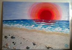 Tramonto sul mare ...esperimento con sabbia e conchiglie del nostro mare