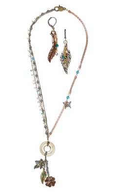 Triple-Strand Necklace and Earring Set with SWAROVSKI ELEMENTS, Antiqued Pewter Pendants and Chain
