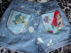 vintage denim jean shorts. the little mermaid. disney. I totally had this blanket when i was a little girl!!!