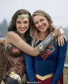 Gal Gadot as Wonder Woman and Melissa Benoist as Kara Zor El/Supergirl (DC Comics).