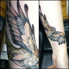 Large Banner and Hawk Tattoo On Shoulder For Men