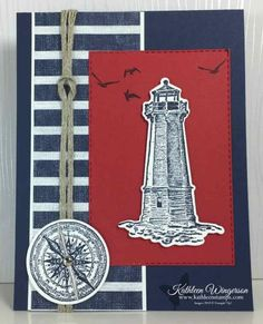 Sailing Home — Masculine Birthday Card showcasing the Sailing Home stamp set, Smooth Sailing dies, and Come Sail Away DSP from Stampin Up! by Kathleen Wingerson www.kathleenstamps.com