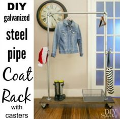 DIY Freestanding Mobile Pipe Coat Rack - a mobile/moveable do-it-yourself coat rack. Perfect for entertaining/guest's coats in the winter, extra hanging space in laundry room and guest rooms.