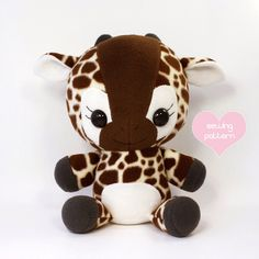 "PDF Giraffe sewing pattern - kawaii stuffed animal plush - DIY cute plushie anime 16"" by TeacupLion on Etsy https://www.etsy.com/listing/126966969/pdf-giraffe-sewing-pattern-kawaii"
